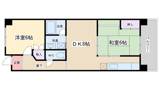 物件番号: 1068100478 クリスタルシャトウ  大阪市淀川区東三国6丁目 2DK マンション 間取り図