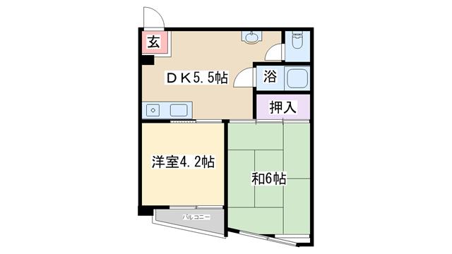 物件番号: 1068100855 ニューカントリーハイムパート3  大阪市淀川区新高1丁目 2DK マンション 間取り図