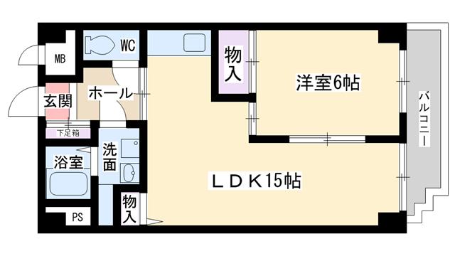 物件番号: 1068100893 ディオサC.S  大阪市淀川区野中北2丁目 1LDK マンション 間取り図