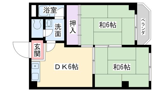 物件番号: 1068101245 ハイツひの  大阪市淀川区木川西3丁目 2DK マンション 間取り図