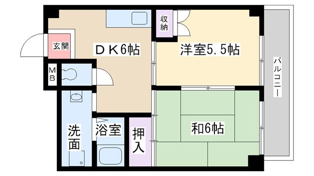 物件番号: 1068101501 パークロッジ  大阪市淀川区木川東4丁目 2DK マンション 間取り図
