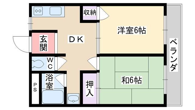 物件番号: 1068101701 成光マンション  大阪市東淀川区東中島1丁目 2DK マンション 間取り図