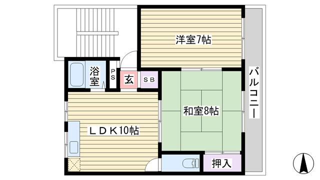物件番号: 1068101822 サカエマンション  大阪市東淀川区東中島2丁目 2LDK マンション 間取り図