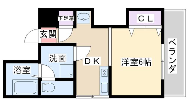 物件番号: 1068102046 新大阪レジデンス  大阪市淀川区西中島6丁目 1DK マンション 間取り図