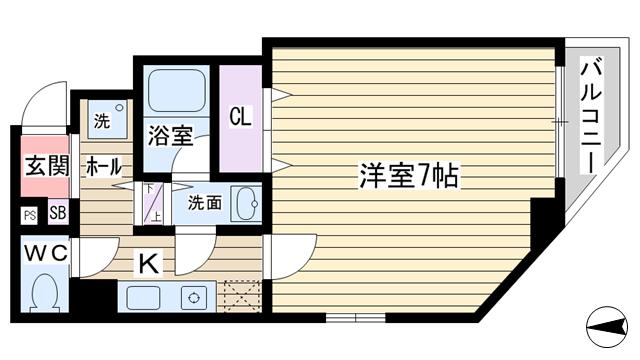物件番号: 1068102168 コスモ新大阪  大阪市淀川区西中島5丁目 1K マンション 間取り図