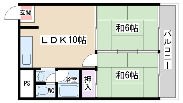 物件番号: 1068103288 シャトー高山  大阪市淀川区東三国4丁目 2LDK マンション 間取り図