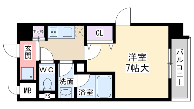 物件番号: 1068103344 新大阪南グランドマンション  大阪市淀川区西中島2丁目 1K マンション 間取り図