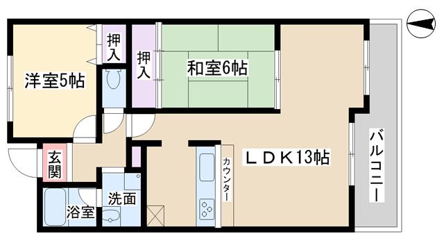 物件番号: 1068103557 メゾンドプルメリア  大阪市淀川区西三国2丁目 2LDK マンション 間取り図