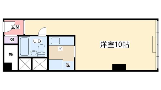 物件番号: 1068104097 チサンマンション第8新大阪  大阪市淀川区西中島7丁目 1R マンション 間取り図