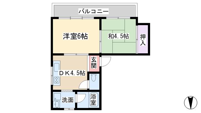 物件番号: 1068104328 キタムラビル  大阪市淀川区十三東1丁目 2DK マンション 間取り図