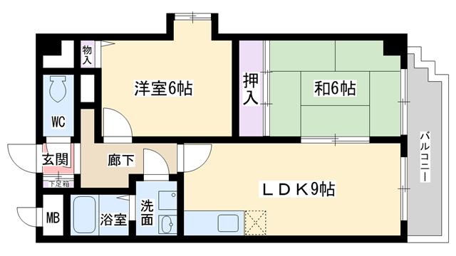 物件番号: 1068104717 ディオサC.S  大阪市淀川区野中北2丁目 2LDK マンション 間取り図