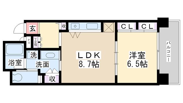 物件番号: 1068106582 リーガル新大阪駅前Ⅱ  大阪市淀川区西中島5丁目 1LDK マンション 間取り図
