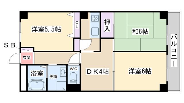 物件番号: 1068108080 オークヒルズ  大阪市淀川区木川西4丁目 3DK マンション 間取り図