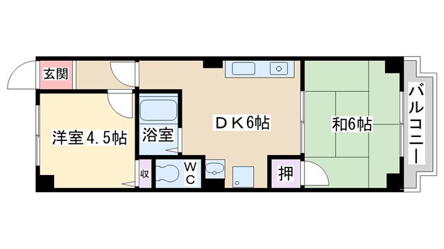 物件番号: 1068108236 日誠マンション  大阪市淀川区新高4丁目 2DK マンション 間取り図
