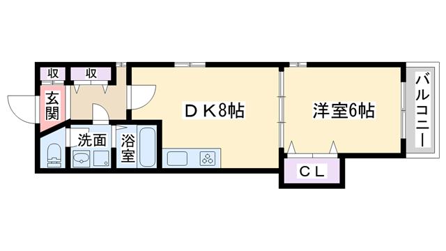 物件番号: 1068108528 NLC新大阪パートⅡ  大阪市淀川区木川西3丁目 1DK マンション 間取り図