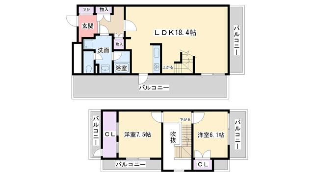 物件番号: 1068108978 NLC新大阪パートⅡ  大阪市淀川区木川西3丁目 2LDK マンション 間取り図