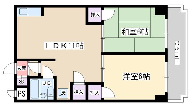 物件番号: 1068109486 プロヴァンス  大阪市淀川区宮原4丁目 2DK マンション 間取り図