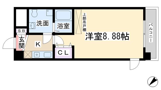 物件番号: 1068109728 CASSIA十三  大阪市淀川区十三東2丁目 1R マンション 間取り図