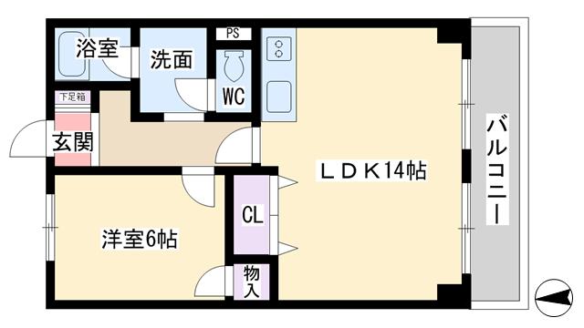 物件番号: 1068110635 サニーサイド新大阪  大阪市淀川区西中島3丁目 1LDK マンション 間取り図