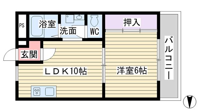 物件番号: 1068111370 レジデンス新大阪  大阪市東淀川区東中島3丁目 1LDK マンション 間取り図