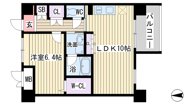 物件番号: 1068111726 N's First  大阪市淀川区西中島1丁目 1LDK マンション 間取り図