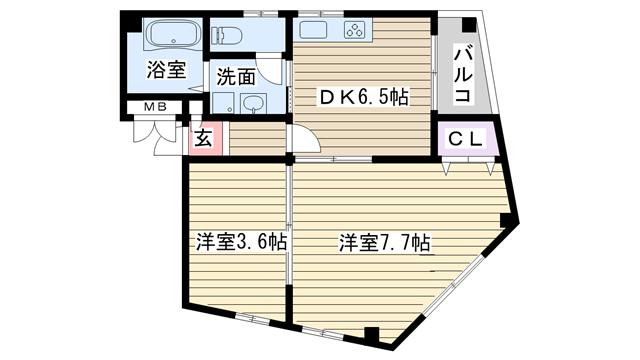 物件番号: 1068112449 フェアリーコート  大阪市東淀川区東中島1丁目 2DK マンション 間取り図