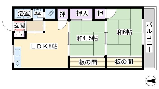 物件番号: 1068113372 中善マンション  大阪市東淀川区東中島4丁目 2LDK マンション 間取り図