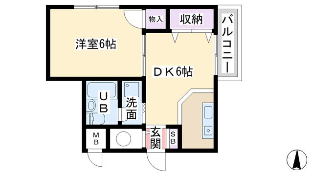 物件番号: 1068113492 コボリマンション新大阪  大阪市東淀川区東中島1丁目 1DK マンション 間取り図