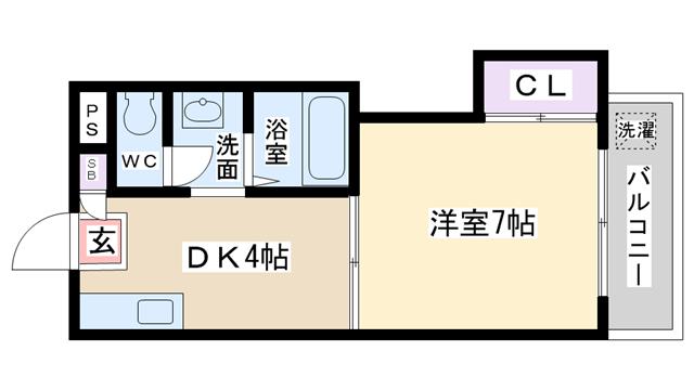 物件番号: 1068113542 ジュネス西中島  大阪市淀川区木川東1丁目 1DK マンション 間取り図