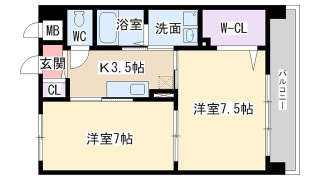 物件番号: 1068113998 プラム・サン  大阪市淀川区塚本6丁目 2K マンション 間取り図