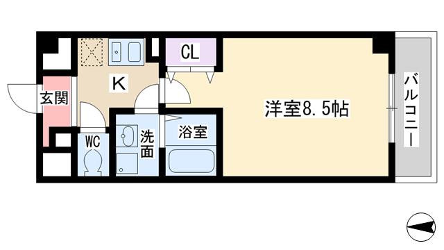 物件番号: 1068114251 ヴェリテ新大阪  大阪市淀川区西中島2丁目 1K マンション 間取り図