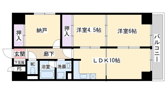 物件番号: 1068114357 コスモハイムエトアール  大阪市淀川区西中島6丁目 3LDK マンション 間取り図