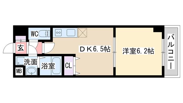 物件番号: 1068114413 will Do十三東1  大阪市淀川区十三東3丁目 1DK マンション 間取り図
