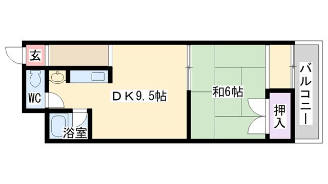 物件番号: 1068114730 北川ビル  大阪市淀川区十三東2丁目 1LDK マンション 間取り図