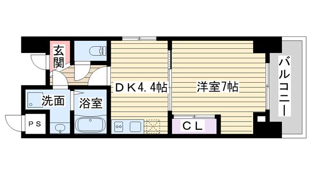物件番号: 1068115545 エイペックス新大阪  大阪市淀川区西中島6丁目 1DK マンション 間取り図