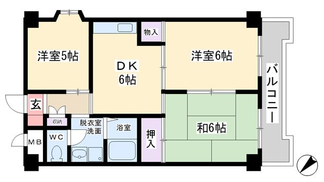 物件番号: 1068117212 パークロッジ  大阪市淀川区木川東4丁目 3DK マンション 間取り図