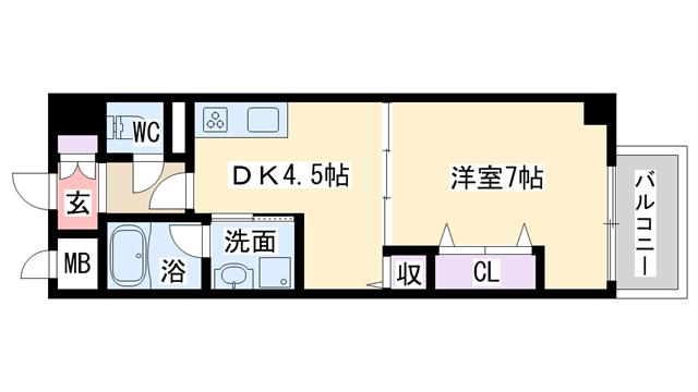 物件番号: 1068118227 NLC新大阪パートⅢ  大阪市淀川区木川東3丁目 1DK マンション 間取り図