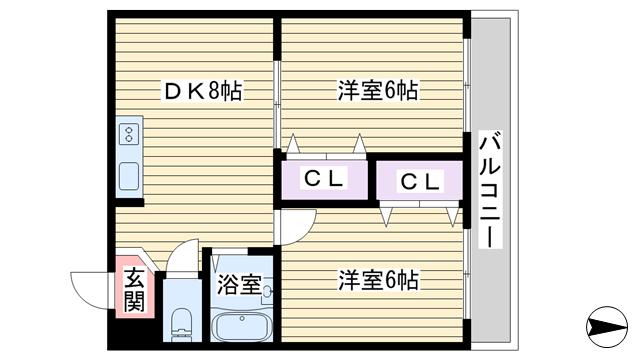 物件番号: 1068119718 サンサーラ新大阪  大阪市東淀川区東中島5丁目 2DK マンション 間取り図