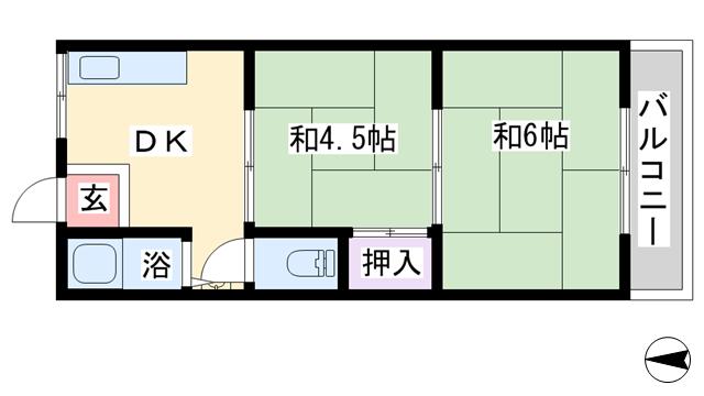 物件番号: 1068120030 見越ハイツ  大阪市淀川区三国本町3丁目 2DK マンション 間取り図
