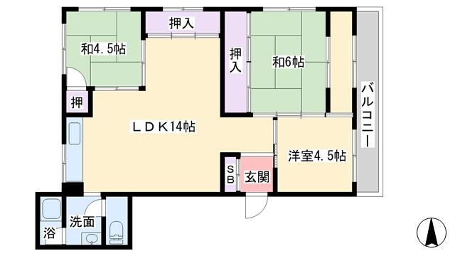 物件番号: 1068120534 橋本マンション  大阪市東淀川区西淡路1丁目 3LDK マンション 間取り図