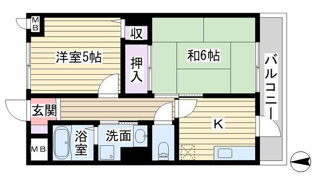 物件番号: 1068120877 三好第2ビル  大阪市淀川区西中島3丁目 2K マンション 間取り図