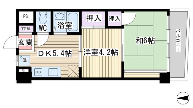 物件番号: 1068121447 大拓ハイツ6  大阪市淀川区東三国4丁目 2DK マンション 間取り図