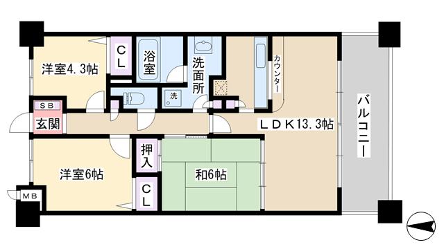 物件番号: 1068121502 リッツ新大阪南  大阪市淀川区西中島4丁目 3LDK マンション 間取り図
