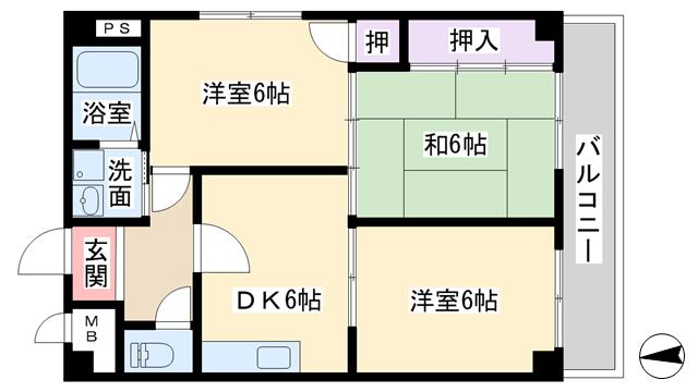 物件番号: 1068121571 クインテットハイツ  大阪市淀川区野中北2丁目 3DK マンション 間取り図