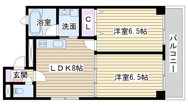 物件番号: 1068122259 グラニット愛和  大阪市淀川区十三東3丁目 2LDK マンション 間取り図