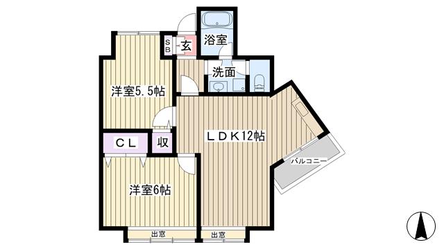 物件番号: 1068122491 メゾン豊新  大阪市東淀川区豊新2丁目 2LDK マンション 間取り図