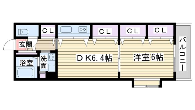 物件番号: 1068122700 エストリーヴルⅡ  大阪市淀川区東三国5丁目 1DK マンション 間取り図