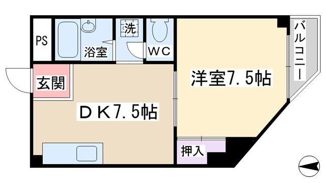 物件番号: 1068123126 メゾンマカカーラ  大阪市東淀川区淡路2丁目 1DK マンション 間取り図