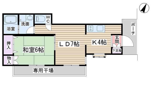 物件番号: 1068124323 新堂タウン  大阪市淀川区西宮原3丁目 1LDK マンション 間取り図