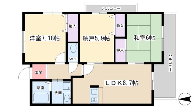 物件番号: 1068124396 メゾンドプルメリア  大阪市淀川区西三国2丁目 2SLDK マンション 間取り図